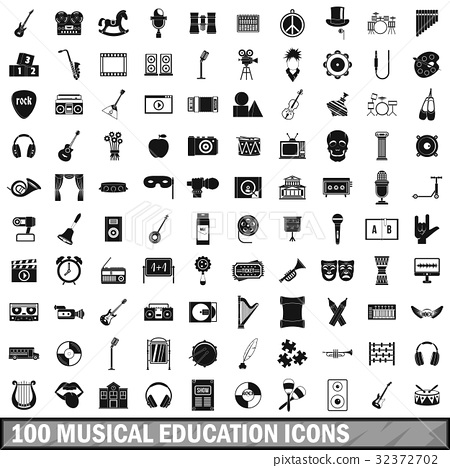 100 musical education icons set, simple style 32372702