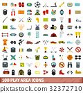 100 play area icons set, flat style 32372710