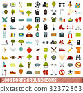 100 sports ground icons set, flat style 32372863