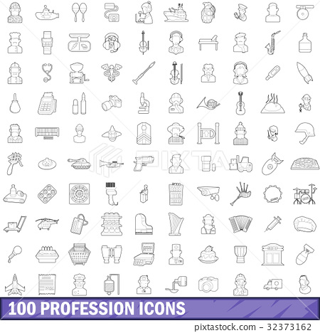 100 profession icons set, outline style 32373162