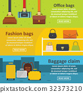 Bag baggage banner horizontal set, flat style 32373210