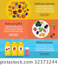 Berries food banner horizontal set, flat style 32373244