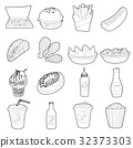 Fast food icons set, outline style 32373303