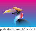 Hornbill Bird lines color fade Style 32375514