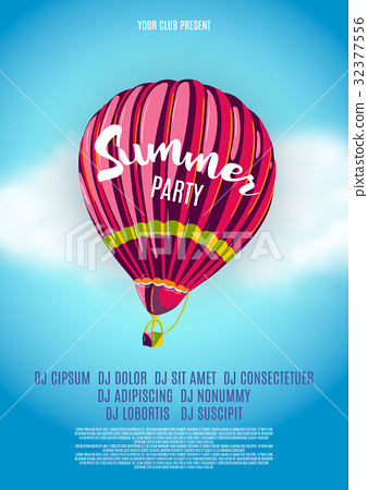 Hot Air Baloon Background Poster. Party Event 32377556