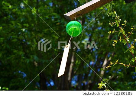 Looking up wind chimes One tree growing trees under green b - Stock
