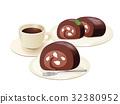 초코 롤 케이크 세트 _ 초코 생크림 _ 가루 설탕 _ 과일 인 32380952