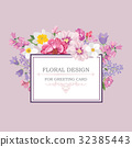 Floral greeting card. Flower bouquet background 32385443
