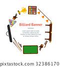 Billiard Game Equipment Banner Card Circle. Vector 32386170