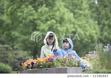 비오는 날에 꽃을 관찰하는 자매 32386883
