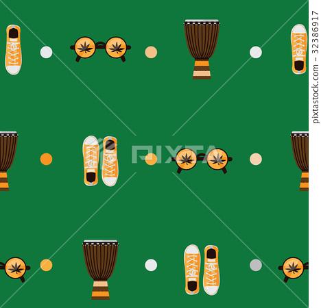 Seamless rastafarian pattern on green background  32386917