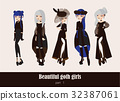 Vector set  isolated on background gothic girls 32387061
