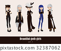Vector set  isolated on background gothic girls 32387062