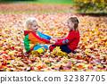 leaves, girl, boy 32387705
