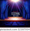 curtain, theater, vector 32387934