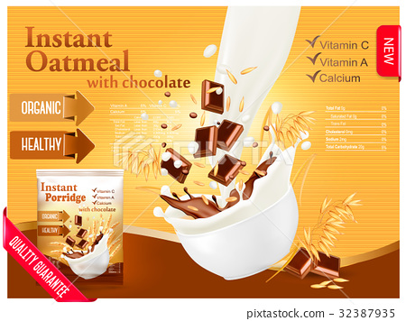 Instant oatmeal with chocolate advert concept 32387935