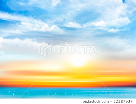 Sunset sky background with transparent clouds  32387937