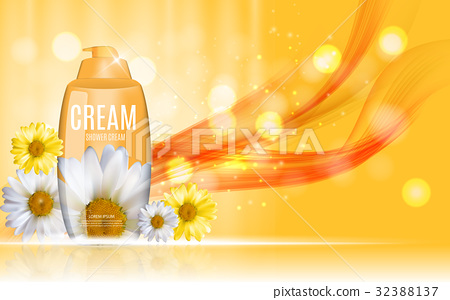 Shower Gel, Cream Bottle with Flowers Chamomile 32388137