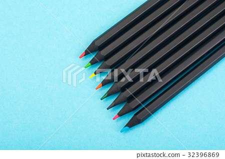Set of black colored pencils on white background 32396869