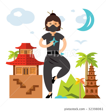 Vector Ninja Girl. Flat style colorful Cartoon 32398061
