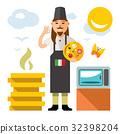 pizza, cook, cartoon 32398204
