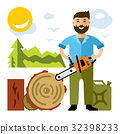 Vector Woodcutter. Flat style colorful Cartoon 32398233