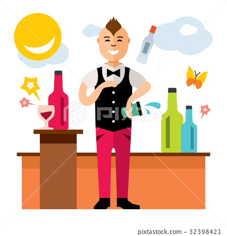 Vector Bartender juggler. Cartoon illustration. 32398421