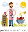 chef, barbecue, illustration 32398422