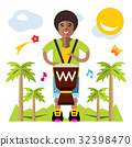 Vector Man playing Djembe. African music 32398470