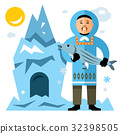 Vector Smiling Eskimo with fish.  32398505