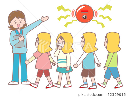 Emergency drills for primary school students - Stock