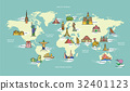 World Map with Landmark of Famous Country Symbol 32401123