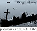 Grunge Halloween background with tombstones 32401365