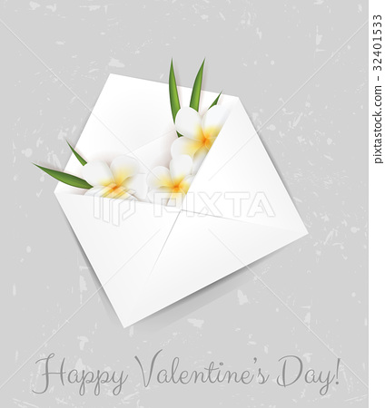 Flowers in envelope - Valentine's day card 32401533