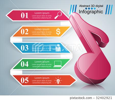 Music Infographic. Treble clef icon. Note icon. 32402921
