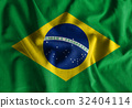 Brazil flag painting on  wave cotton fabrics . 32404114