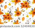 Pattern seamless autumn flowers gerbera sunflower 32404630