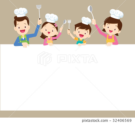 happy family cooking with space frame 32406569