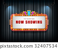 Theater sign retro on curtain with spotlight 32407534
