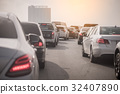 traffic jam on toll way with row of cars 32407890