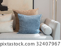 modern living room with set of pillows on sofa 32407967