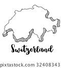Hand drawn of Switzerland map, vector illustration 32408343