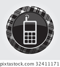button white, black tartan - old mobile phone icon 32411171
