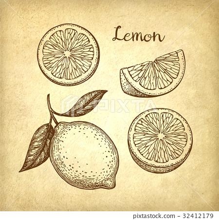 Lemon set on old paper background 32412179