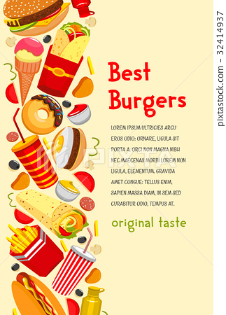 Vector fast food poster for burgers restaurant - Stock