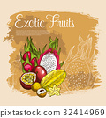 Vector poster of exotic tropical fruits 32414969