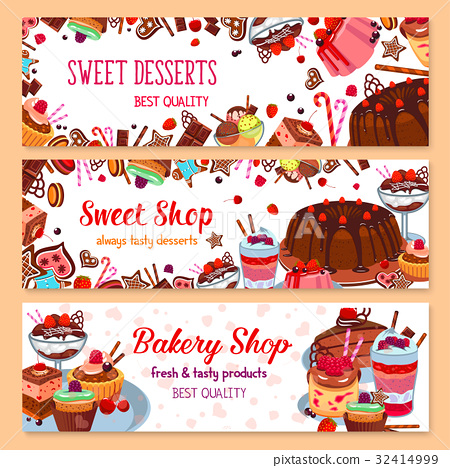 Bakery vector banners for sweet dessert shop 32414999