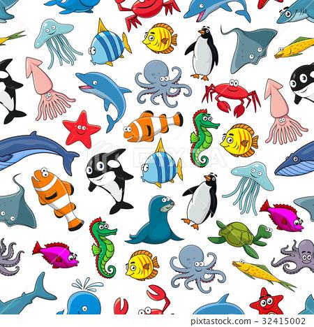 Sea fishes animals cartoon vector seamless pattern 32415002
