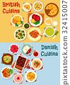 British and danish cuisine icon set design 32415007