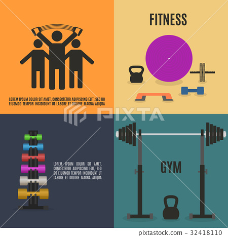 Flat design elements for gym and fitness 32418110